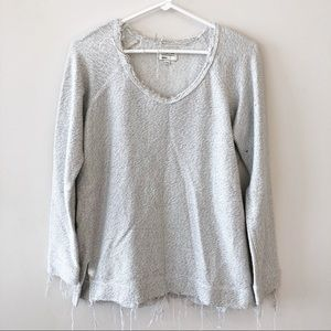 RVCA Distressed V Neck Pullover Sweatshirt